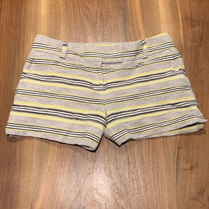Stripe black white and lime loft cotton shorts